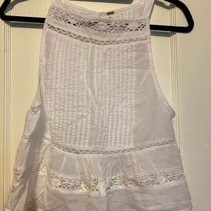 Free People linen ruffle tank with back buttons